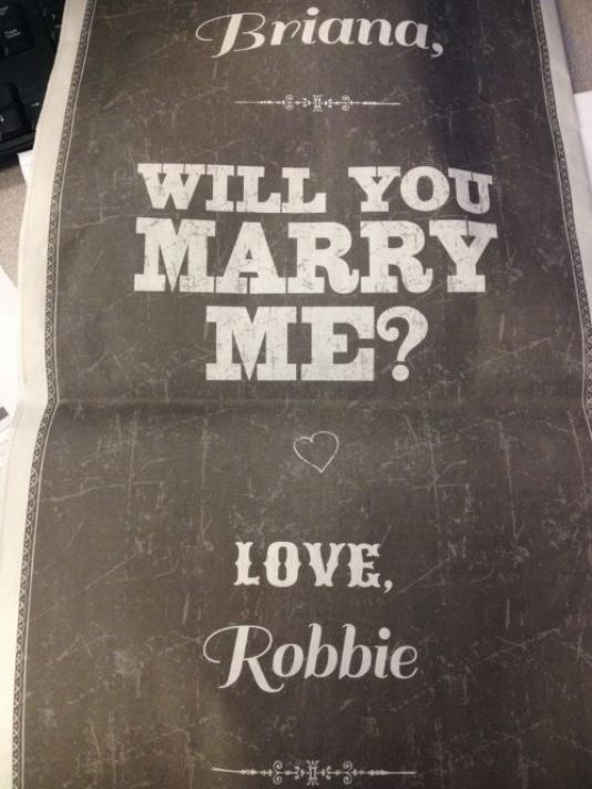 Seattle man proposes with newspaper page