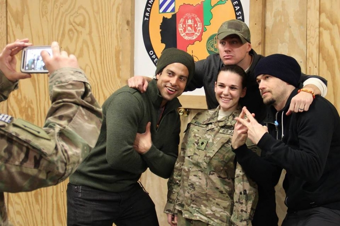 Channing Tatum and Adam Rodriguez and Nick Zano pose with deployed soldiers