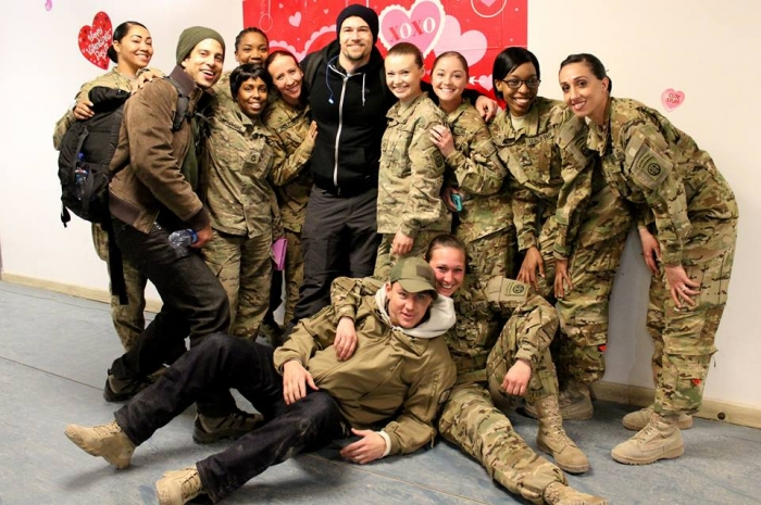 Channing Tatum and Nick Zano with deployed troops
