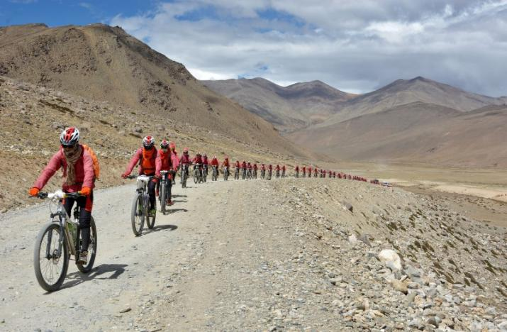 Buddhist nuns bike from Nepal to India to raise awareness of human trafficking