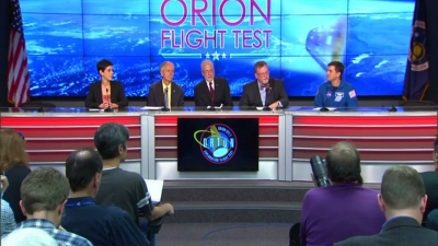 NASA officials post test briefing
