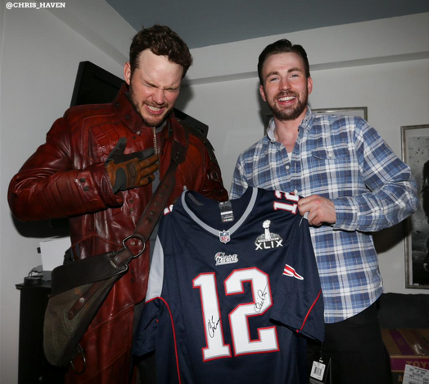 Chris Pratt and Chris Evans visit children's hospitals to honor Super Bowl bet