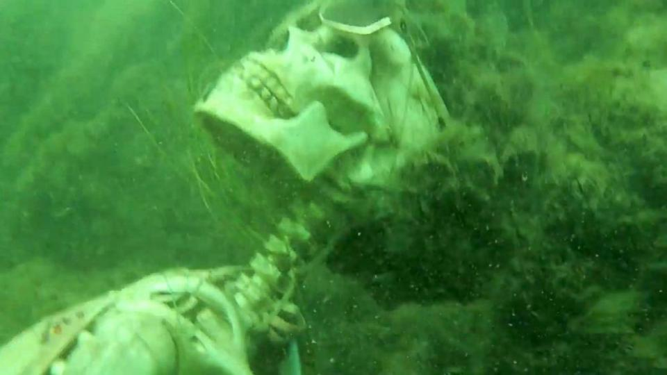 Man calls police after finding skeletons lounging in river
