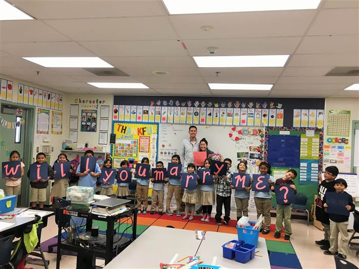 First graders surprise teacher with adorable proposal