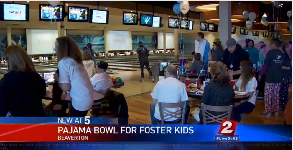 Bowling in pajamas for foster kids