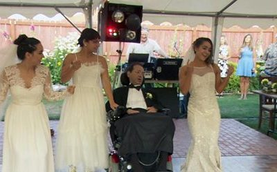 Daughters grant father's wish to see them marry before he dies